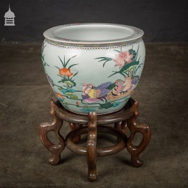 Early 20th C Chinese Jardinière Planter Fish Bowl on Stand