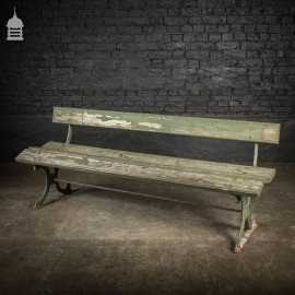 19th C Distressed Green Painted Cast Iron Garden Bench with Pine Slats