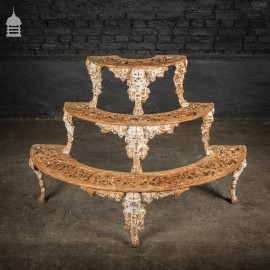 19th C Cast Iron Three Tier Display Stand Shelves
