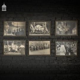 Set of 12 Vintage Framed Photographs Prints of London Market Scenes