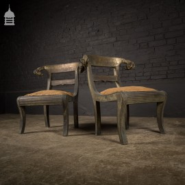 Pair of 19th C Metal Covered Wooden Ram's Head Chairs with Sabre Legs