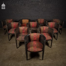 Set of 10 Art Deco Ebonised Tub Chairs from a Hotel in Bombay
