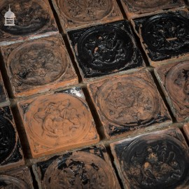 Set of 22 19th C Decorative 7 inch Terracotta Tiles with Flakey Paint
