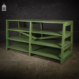 Mid Century Heavy Duty Industrial Shelving with Green Paint Finish
