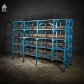 Large Heavy Duty Industrial Workshop Racking with Numbered Shelves and Blue Paint Finish
