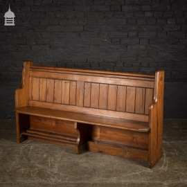 Small Victorian Pitch Pine Pew with Waxed Finish