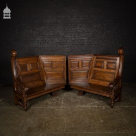 Pair of Ornately Carved 19th C Oak Pew Settles with Turned Detail