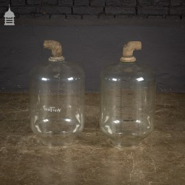 Pair of Vintage Industrial Glass Measuring Cylinders