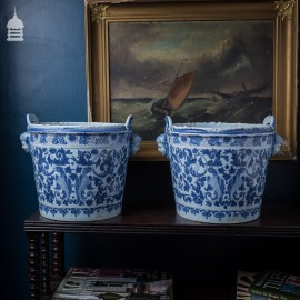 Large Pair of 19th C French Blue and White Tin Glaze Ceramic Pots with Cherub Handles