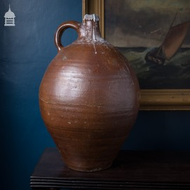 16th C Brown Glaze Stoneware Vessel with Repaired Break
