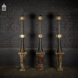 Set of 3 Victorian Cast Iron Bollards with Rose Detail