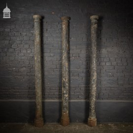 Pair of 19th C Cast Iron Columns with Matching Half Column