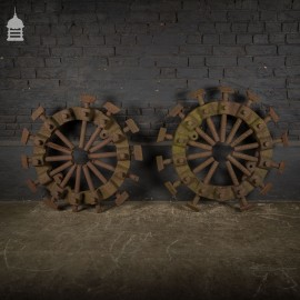 Pair of Victorian Cast Iron Spade Studs Cart Wheel Formers
