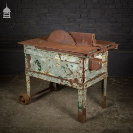 Industrial Steel Table Saw with Distressed Paint