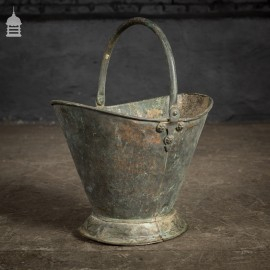 19th C Copper Coal Scuttle Bucket with Tudor Rose Detail