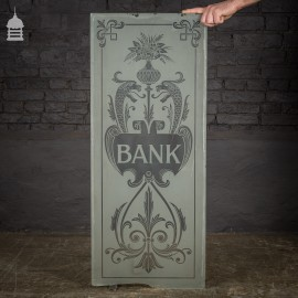 Original Etched Frosted Glass Panel from a Bank
