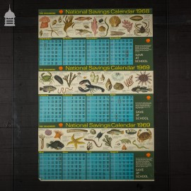 Vintage National Savings Calendar Poster from 1968 1969