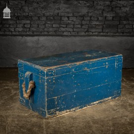 19th C Blue Painted Carpenters Tool Box Chest
