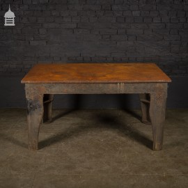 Early 20th C Solid Cast Iron Industrial Metal Workers Table in Original Condition