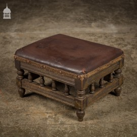 19th C Leather Topped Oak Foot Stool with Turned Detail