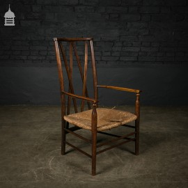 19th C Fruitwood Carver Chair with Rush Seat