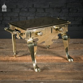 Georgian Polished Brass Trivet Footman's Stool with Handles
