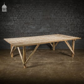 Bygone White Washed Pine Slatted Workbench Table