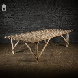 Bygone White Washed Slatted Pine Table Workbench