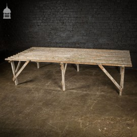 Bygone Slatted Pine Workbench Table with White Washed Finish