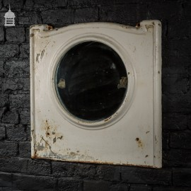 1920's Cast Iron Hospital Sanitary Mirror with Distressed White Paint Finish