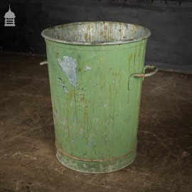 Vintage Galvanised Steel Bin Bucket with Distressed Green Paint