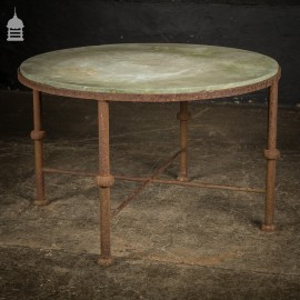 Round Marble Top Garden Table with Steel Base