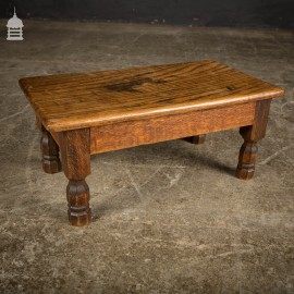 Small 19th C Solid Oak Stool with Octagonal Legs