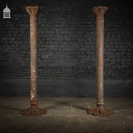 Pair of 19th C Industrial Cast Iron Columns Pillars Stanchions
