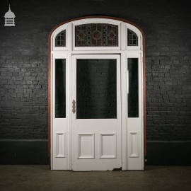 Large 19th C Mahogany Entranceway Front Door with Stained Glass Panels and Original Finger Plate