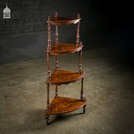 19th C 4 Tier Burr Walnut Corner What Not Shelving with Turned Detail
