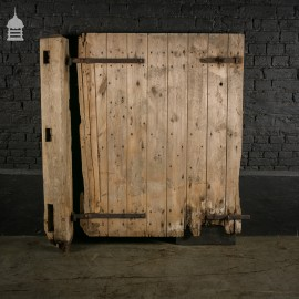 Pine Ledged and Braced Barn Door with Original Ironwork and Post