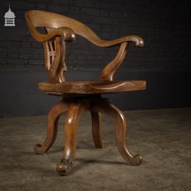 Edwardian Oak Swivel Chair Seat