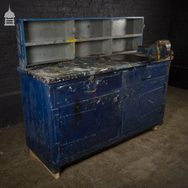 Industrial Workbench Cupboards and Shelves Unit with Distressed Blue Paint