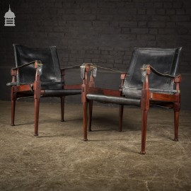 Pair of Mid 20th C Mahogany Framed Leather Seated Chairs