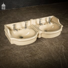Pair of Cream Glazed Interlocking Wash Hand Basins