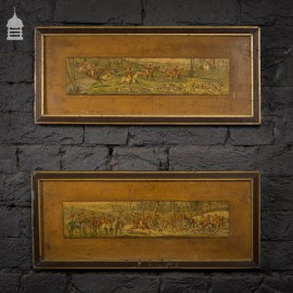 Pair of Framed Antique Hunting Scene Paintings