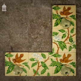 Set of 5 Original Minton 6x6 Tiles with Birds and Pears
