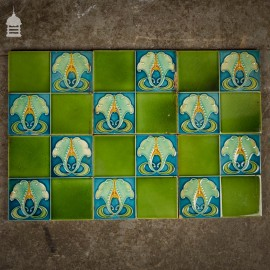 Set of 6 Green and Blue Art Nouveau 6x6 Tiles