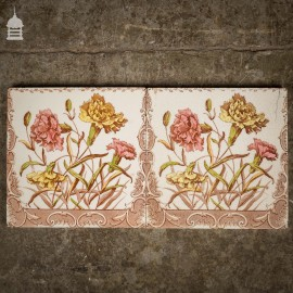 Pair of Original Arts and Crafts Floral 6x6 Tiles