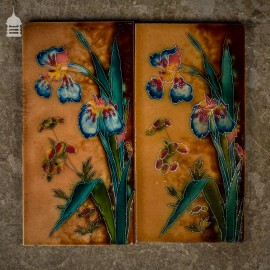 Pair of Floral Tube Lined 12x6 Tiles with Colourful Iris Design