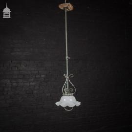 19th C Copper Ceiling Light with Original Opaque Glass