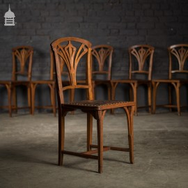 Set of 6 Art Nouveau Carved Oak Dining Chairs with Decorative Studded Leather Seats