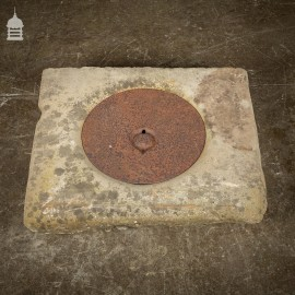19th C York Stone Well Cover with Circular Cast Iron Lid