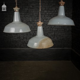 Set of 3 Vintage Industrial Grey Enamelled Pendant Light Shades